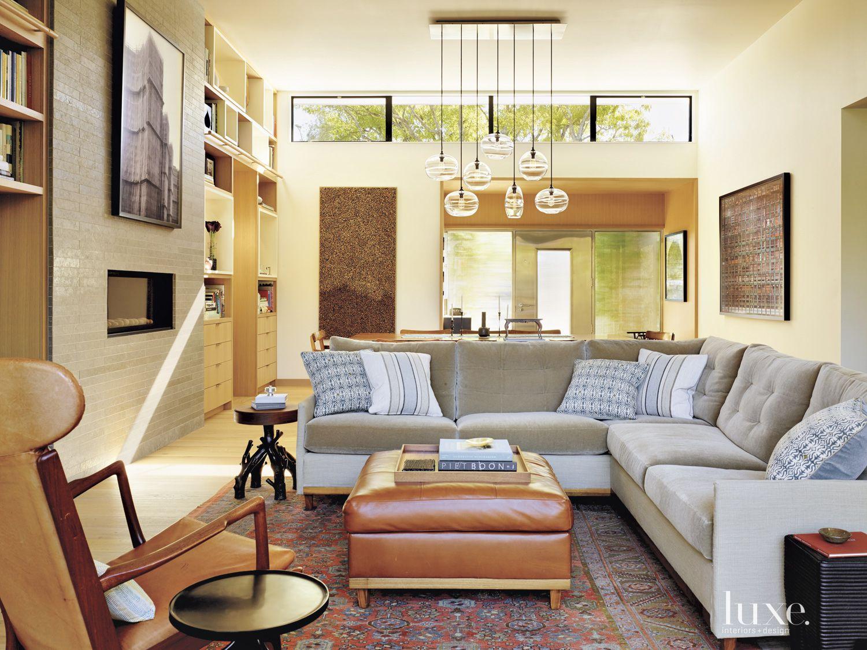 Cream Contemporary Living Room with Antique Rug