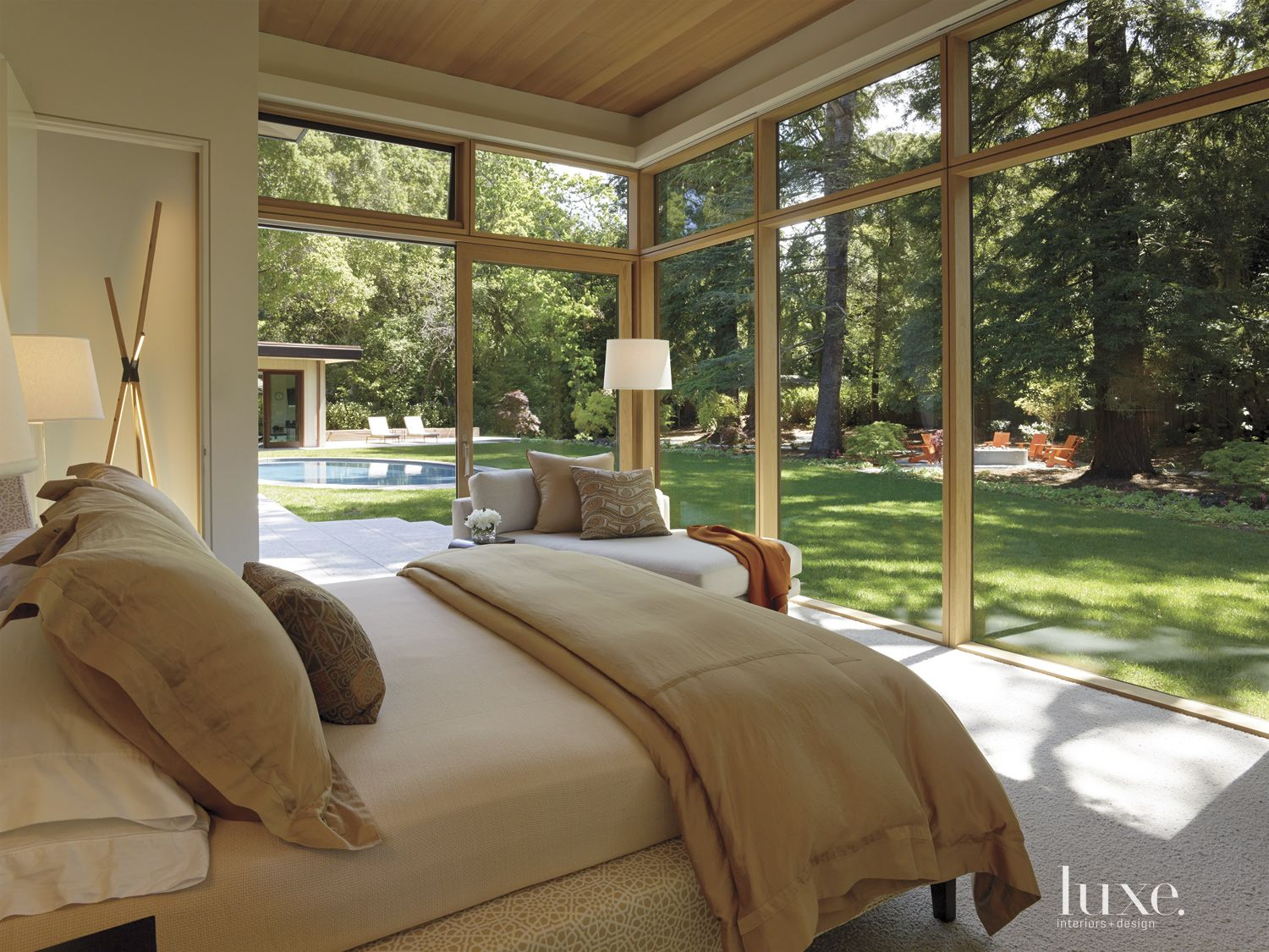 Modern Glassed-in Master Bedroom with Chaise