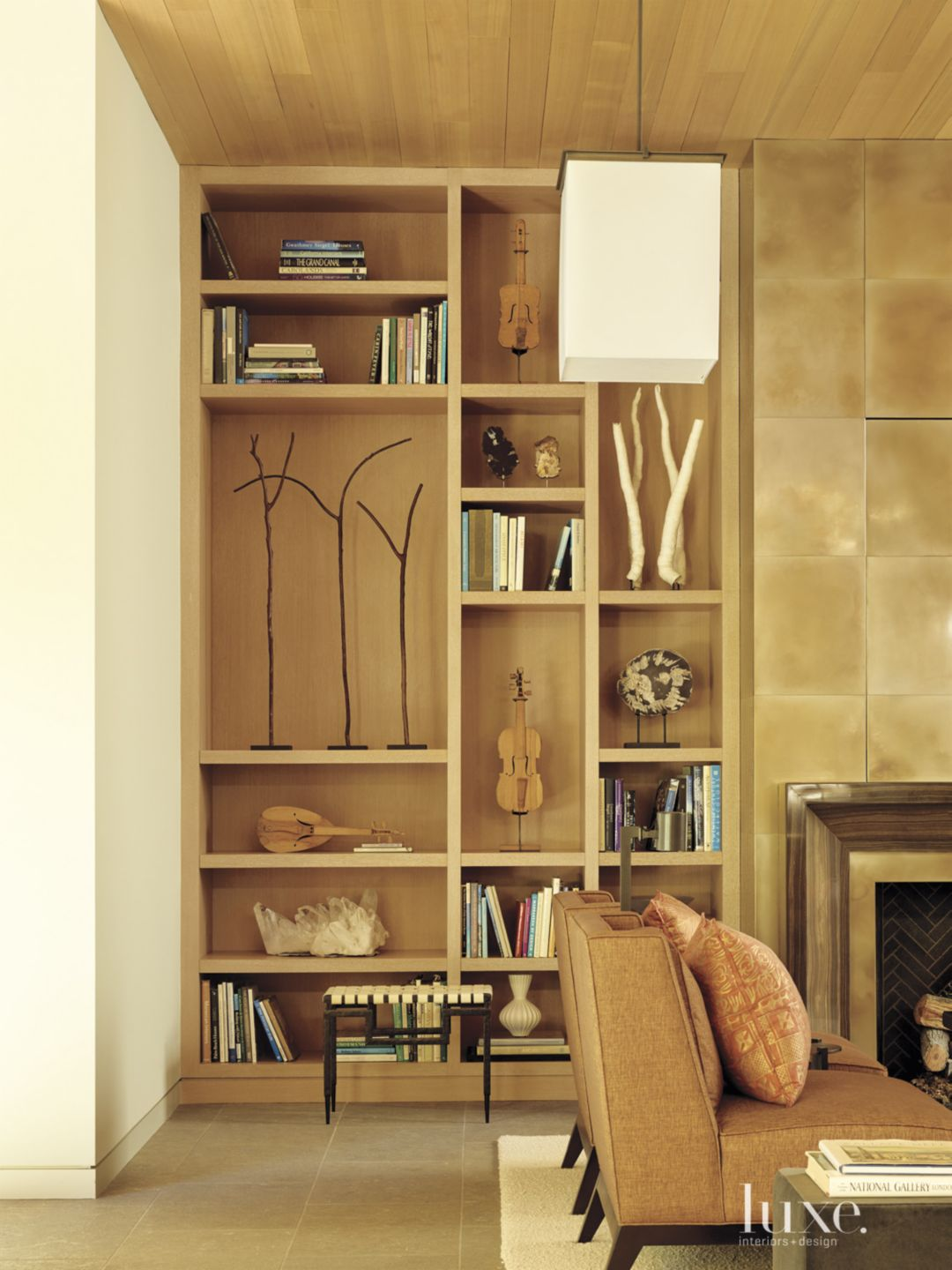Modern Living Area with Built-in Shelving