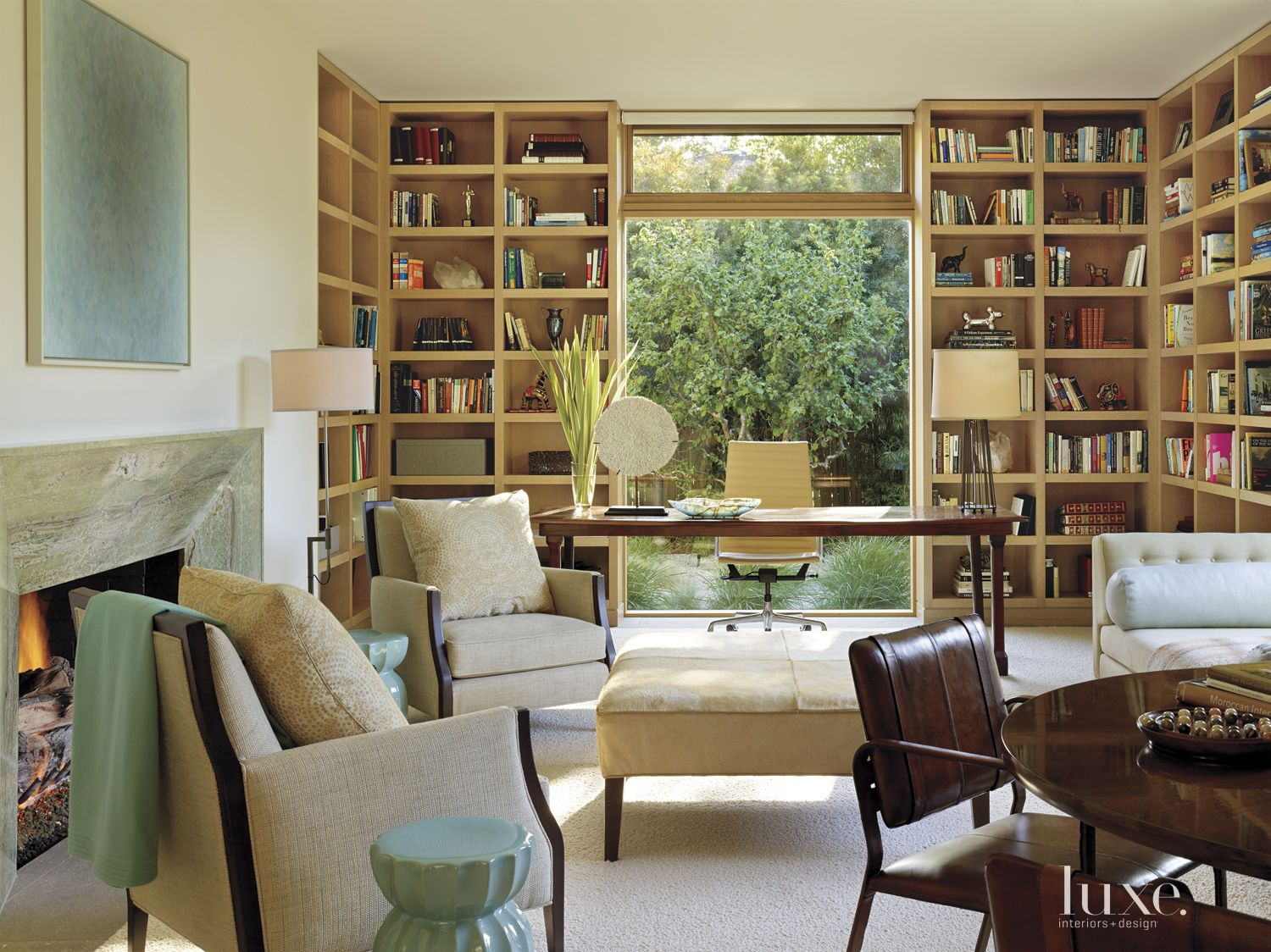 Modern Cream Library with Built-in Shelving