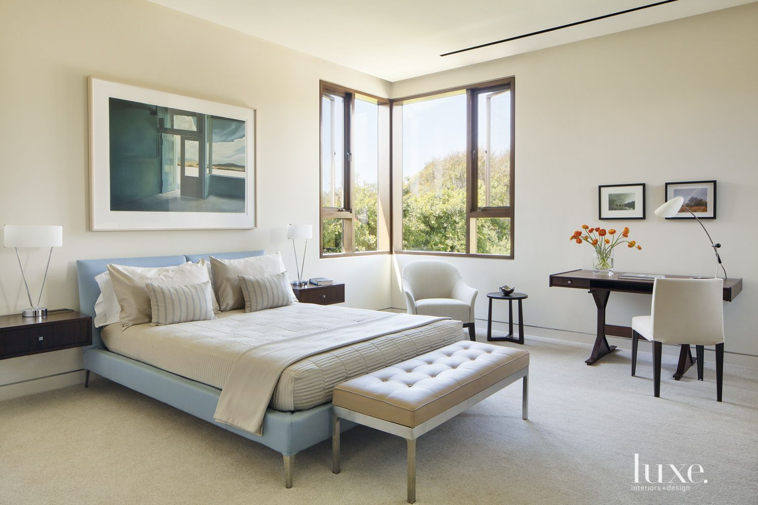 Contemporary Cream Bedroom with Floating Bedside Tables