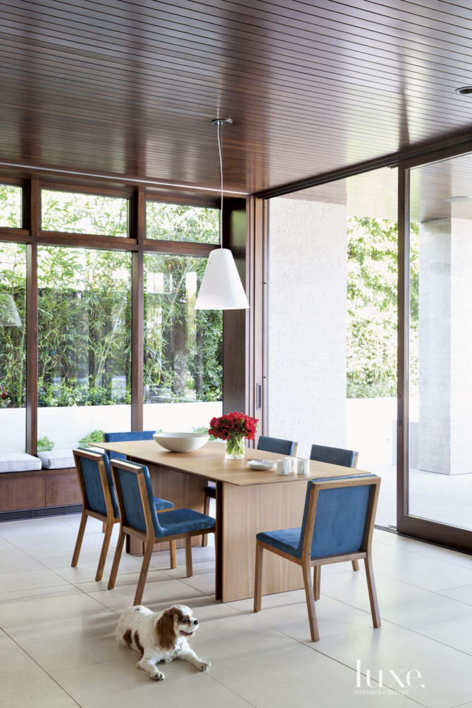 Contemporary Neutral Breakfast Area with Window Walls