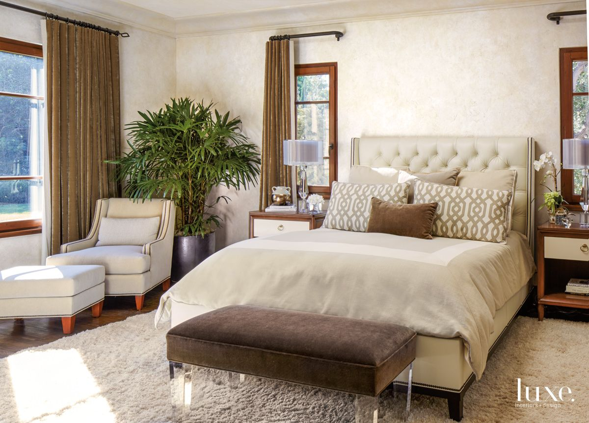 Transitional Neutral Bedroom with Silk-Velvet Draperies