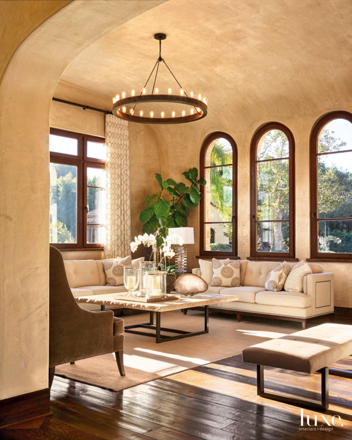 Transitional Neutral Living Room with Venetian Plaster Walls