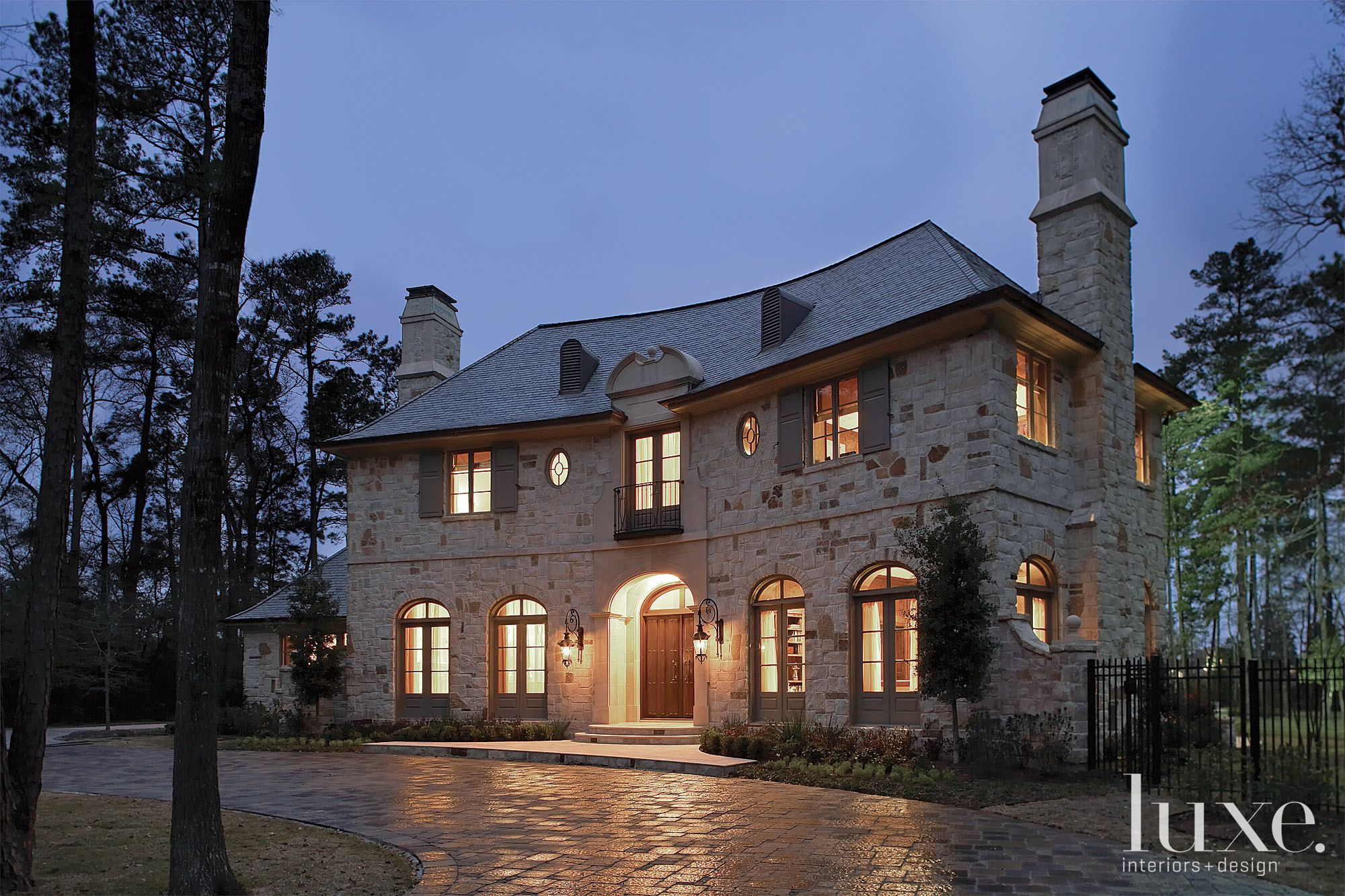 Traditional Stone French-Inspired Front Elevation