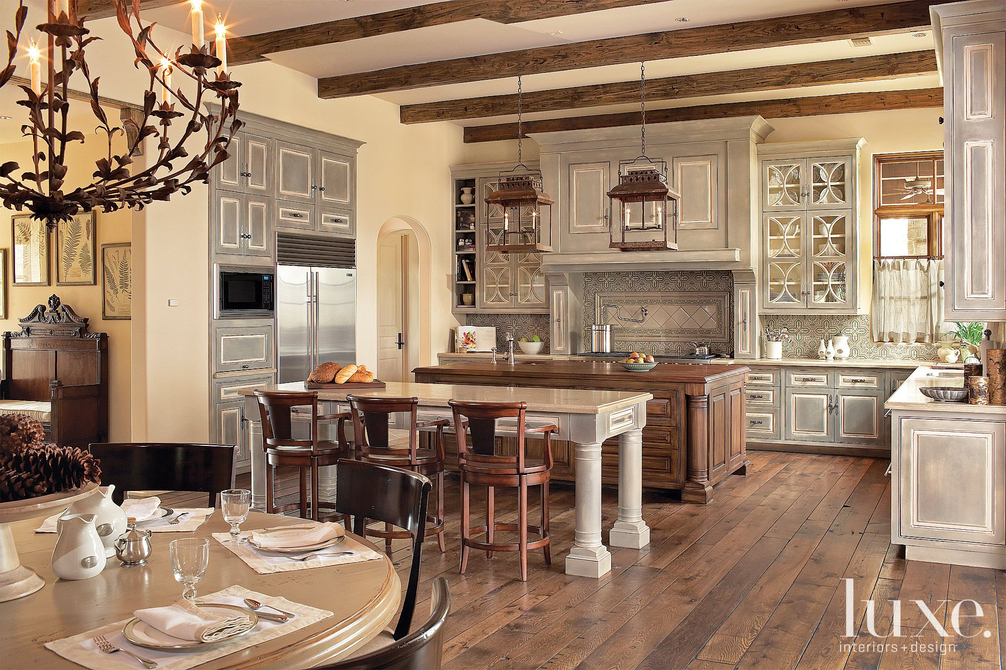 Traditional Kitchen with Rustic Olive Cabinetry