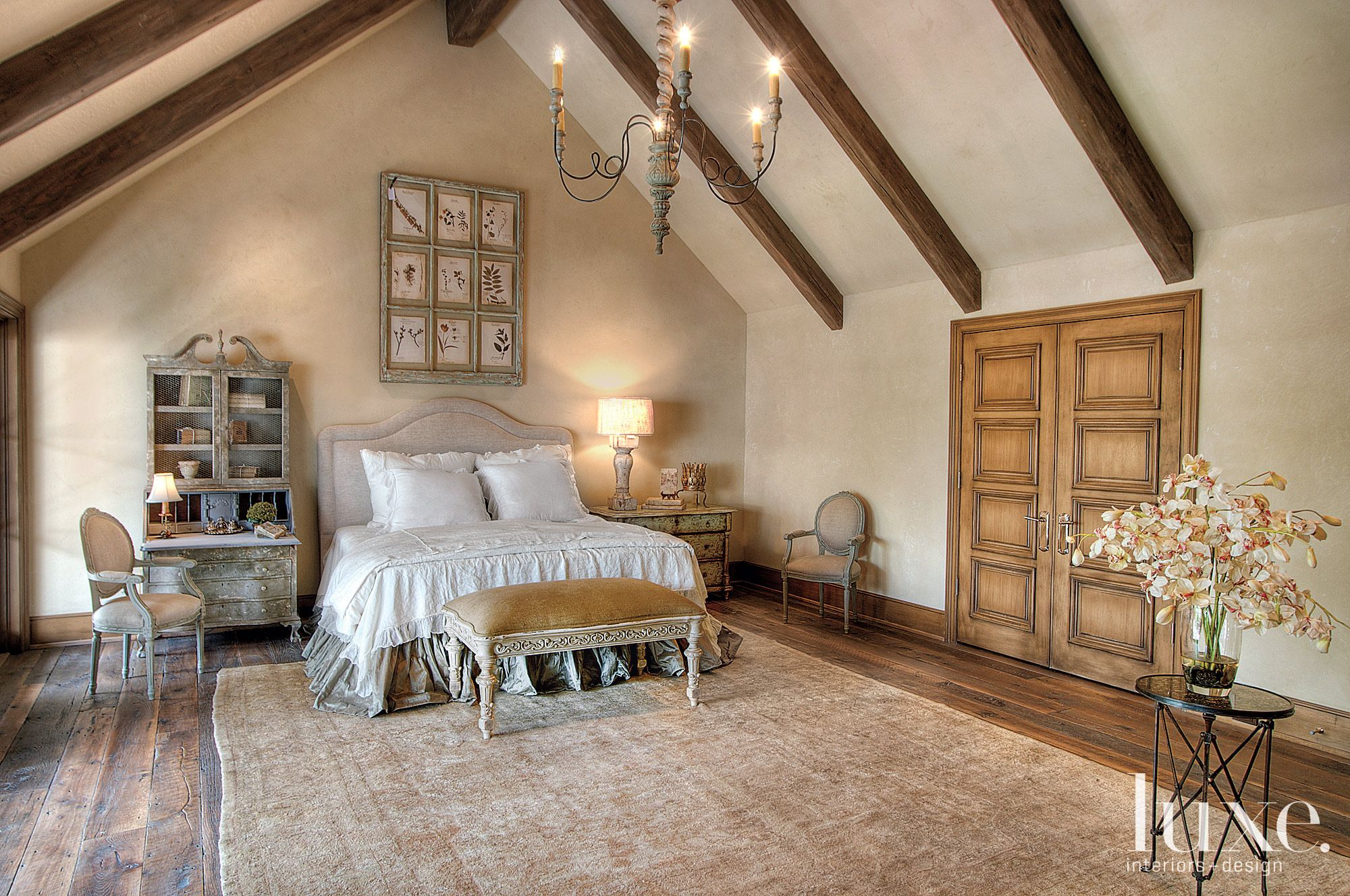 Traditional Cream Bedroom with Cathedral Ceiling