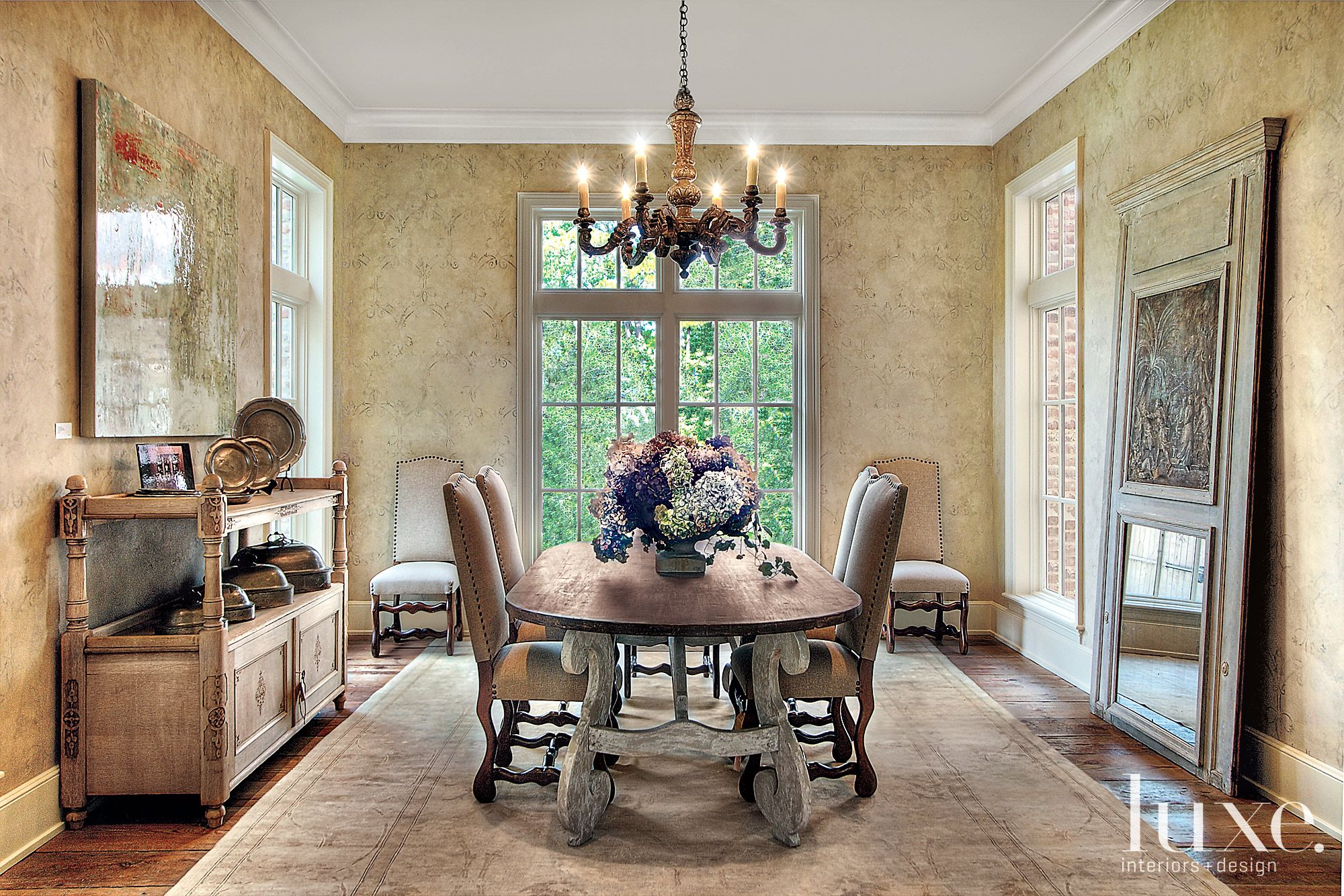 Traditional Neutral Dining Room with Candle Chandelier