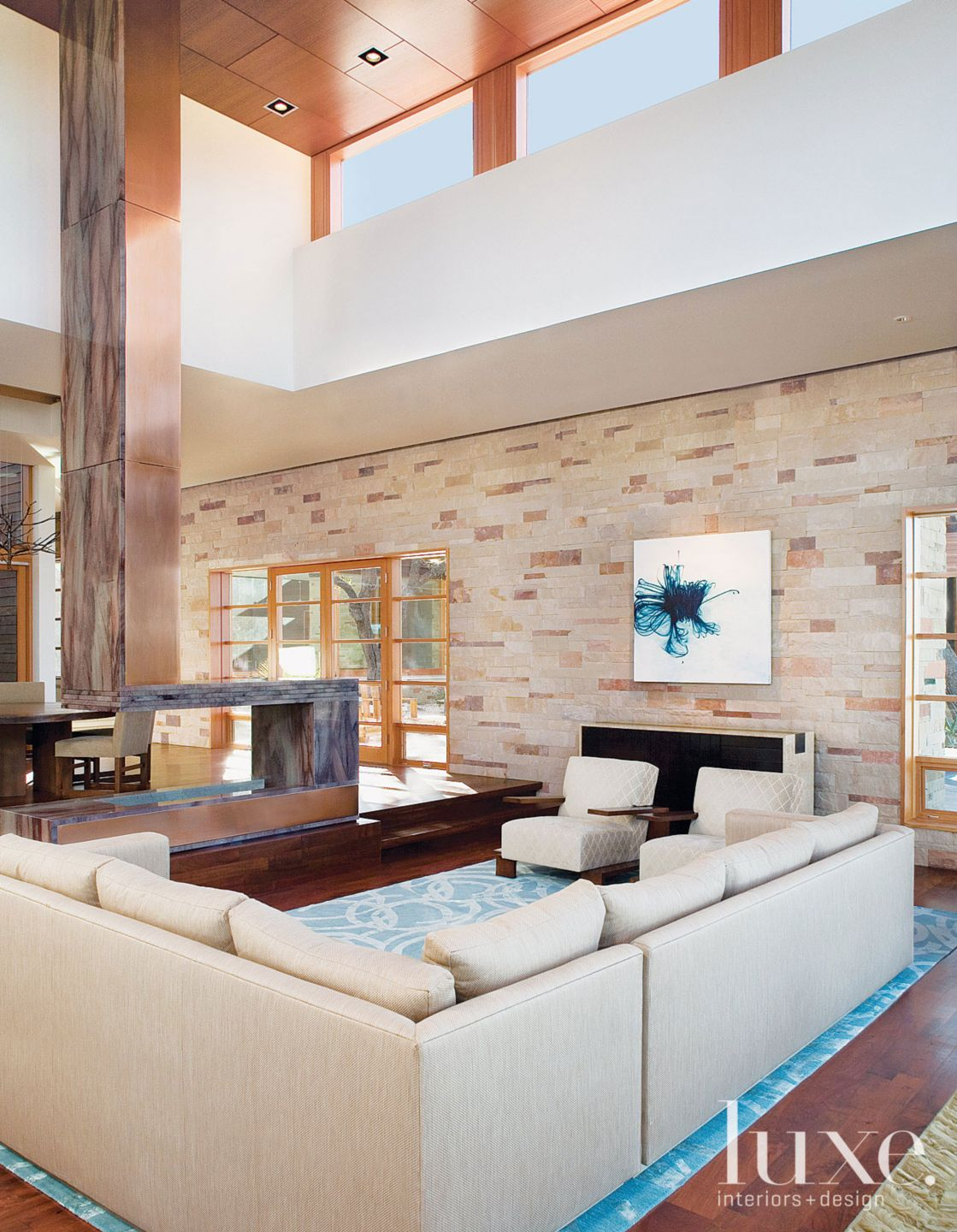 Modern Living Room with Limestone Wall