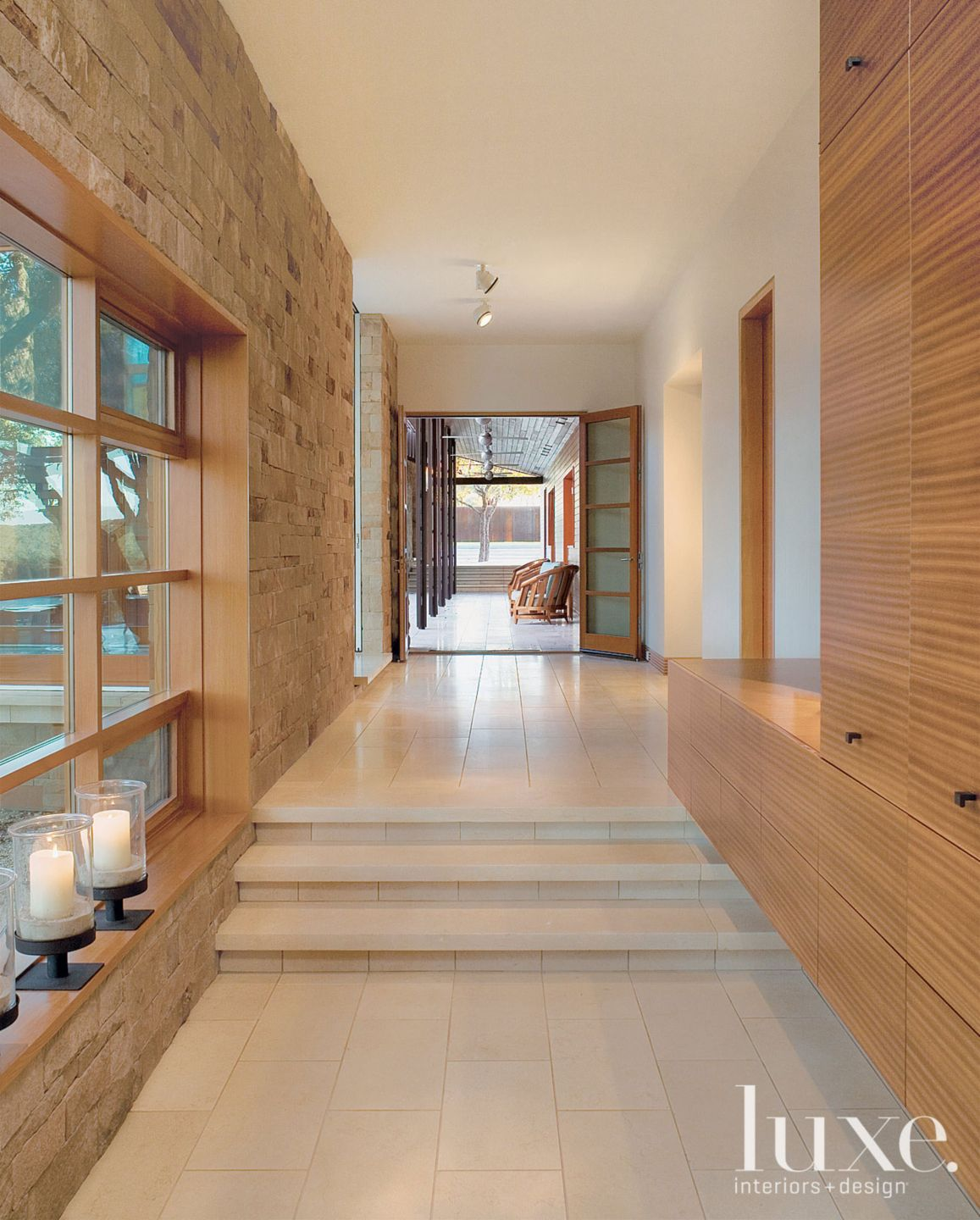 Modern Limestone Hallway with Floating Cabinet