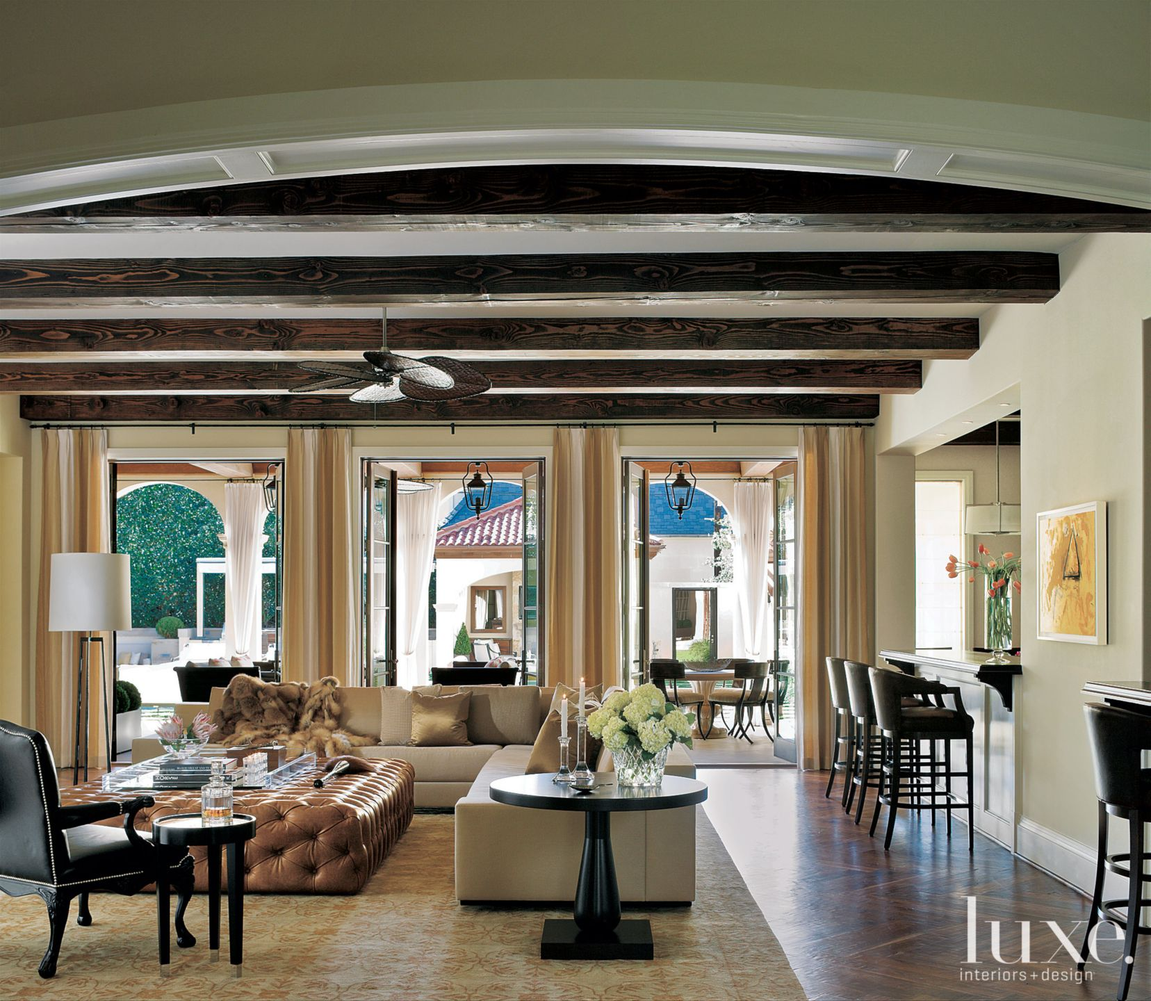 Traditional Living Room with Exposed Beams