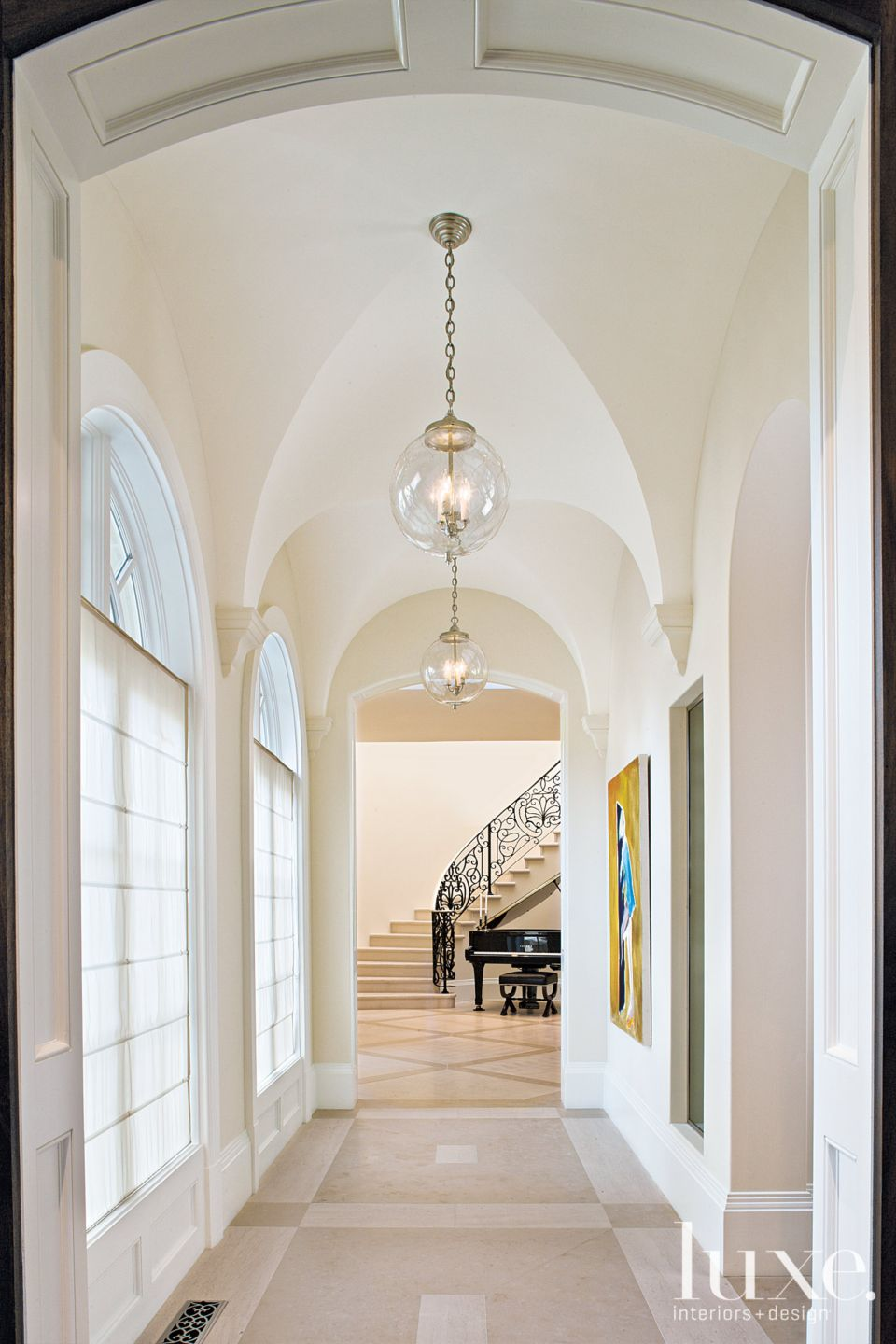 Traditional White Foyer with Groin-Vaulted Ceiling