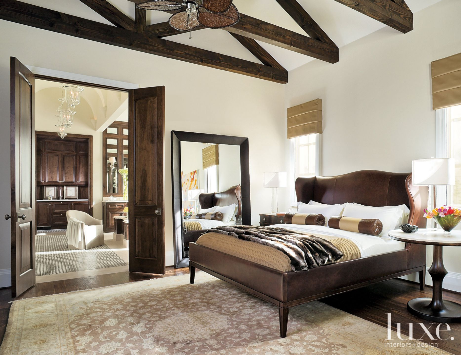 Traditional White Bedroom with Custom Silk-and Wool Rug