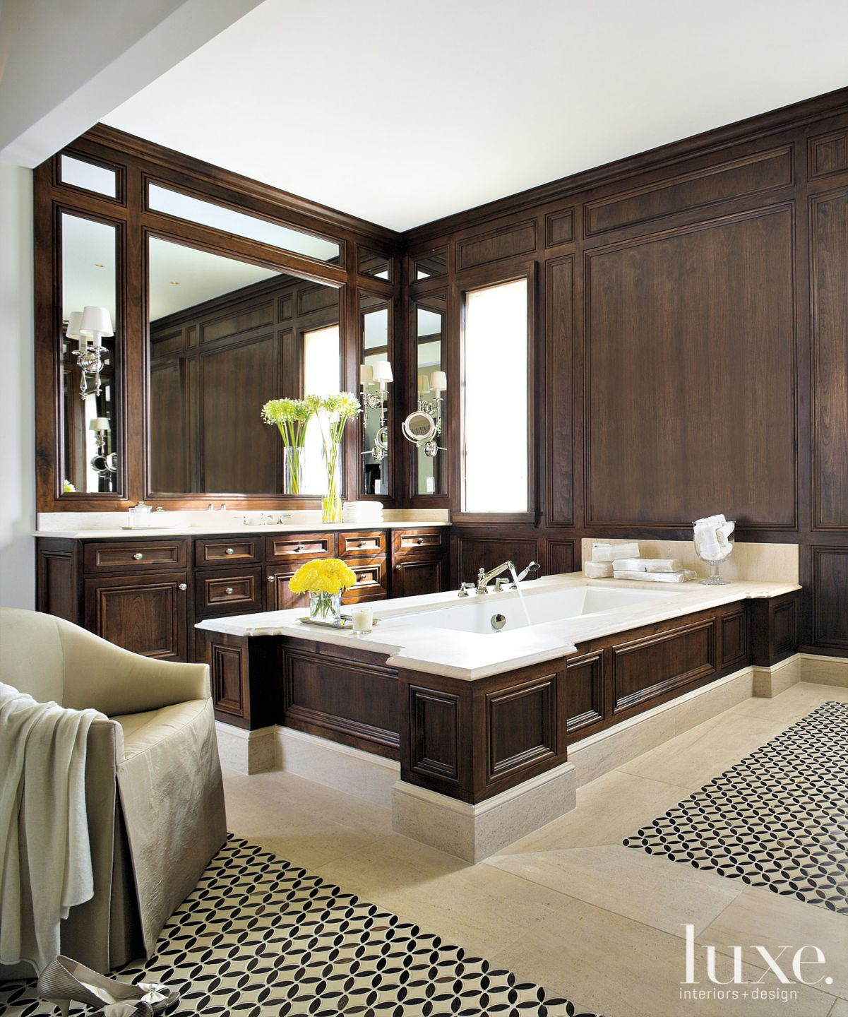 Traditional Brown Bathroom with Walnut Paneling