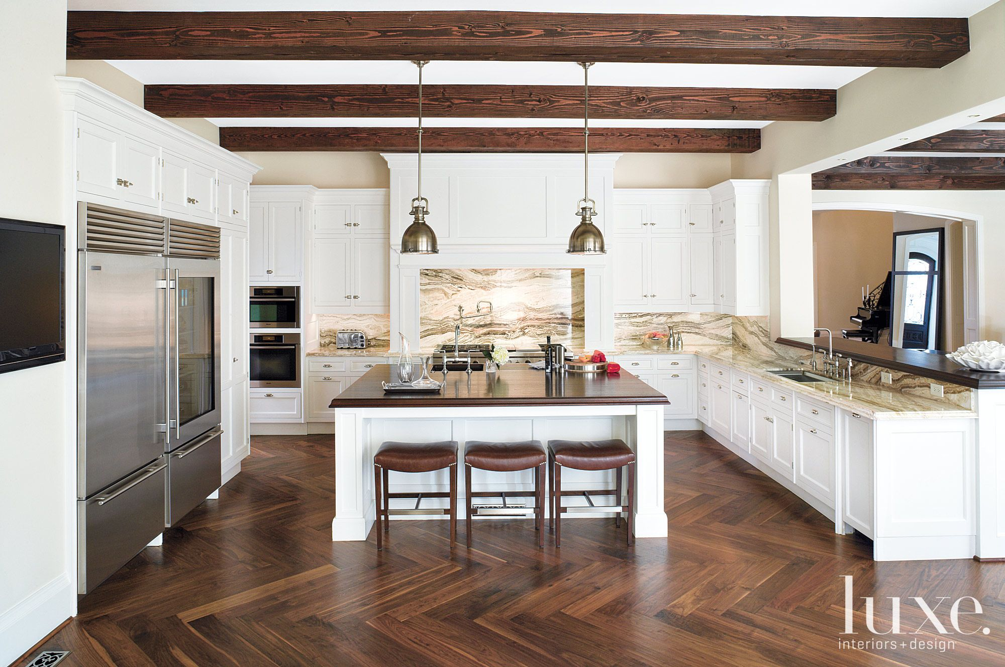 Traditional White Kitchen with Wood-Block Island