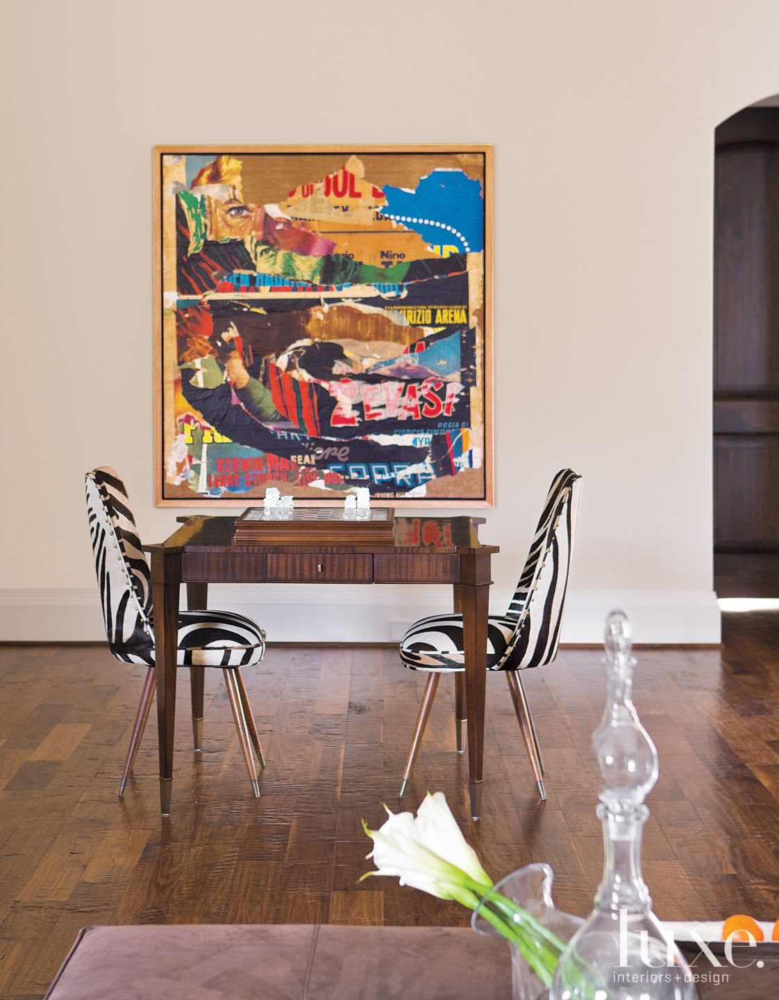 Eclectic Neutral Sitting Area with Game Table
