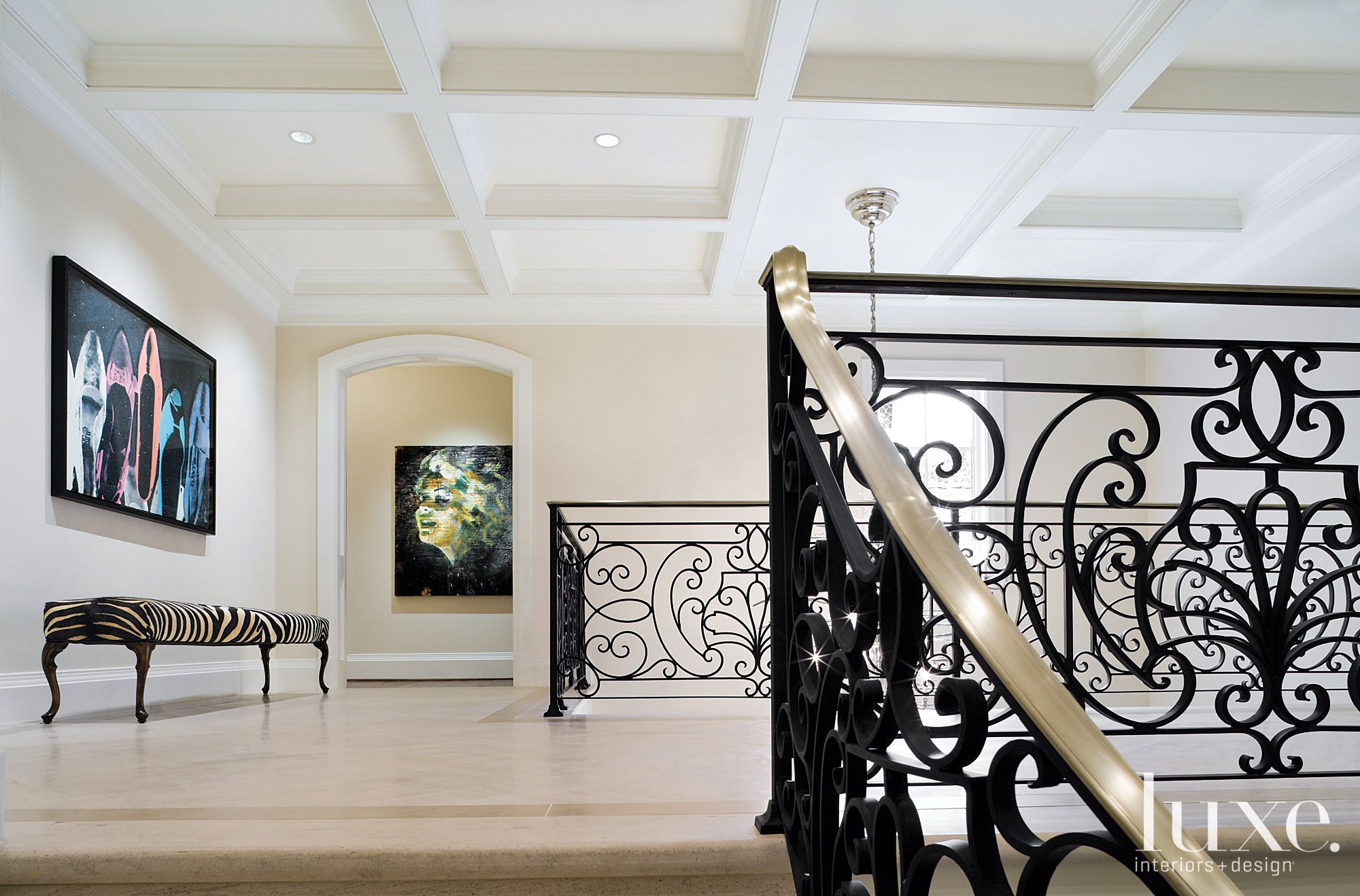 Traditional White Hall with Gallery Walls