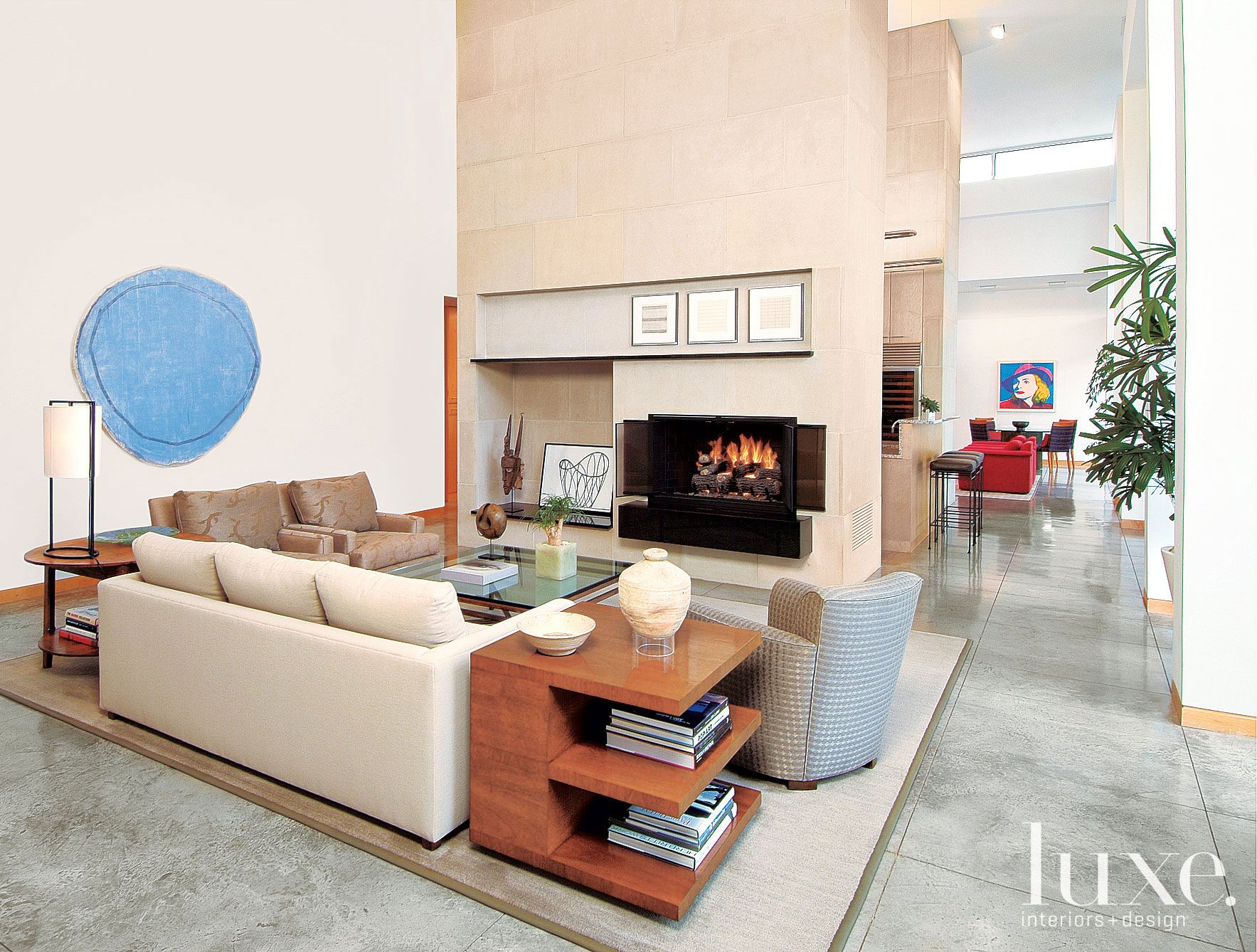 Modern White Gallery-Like Living Room