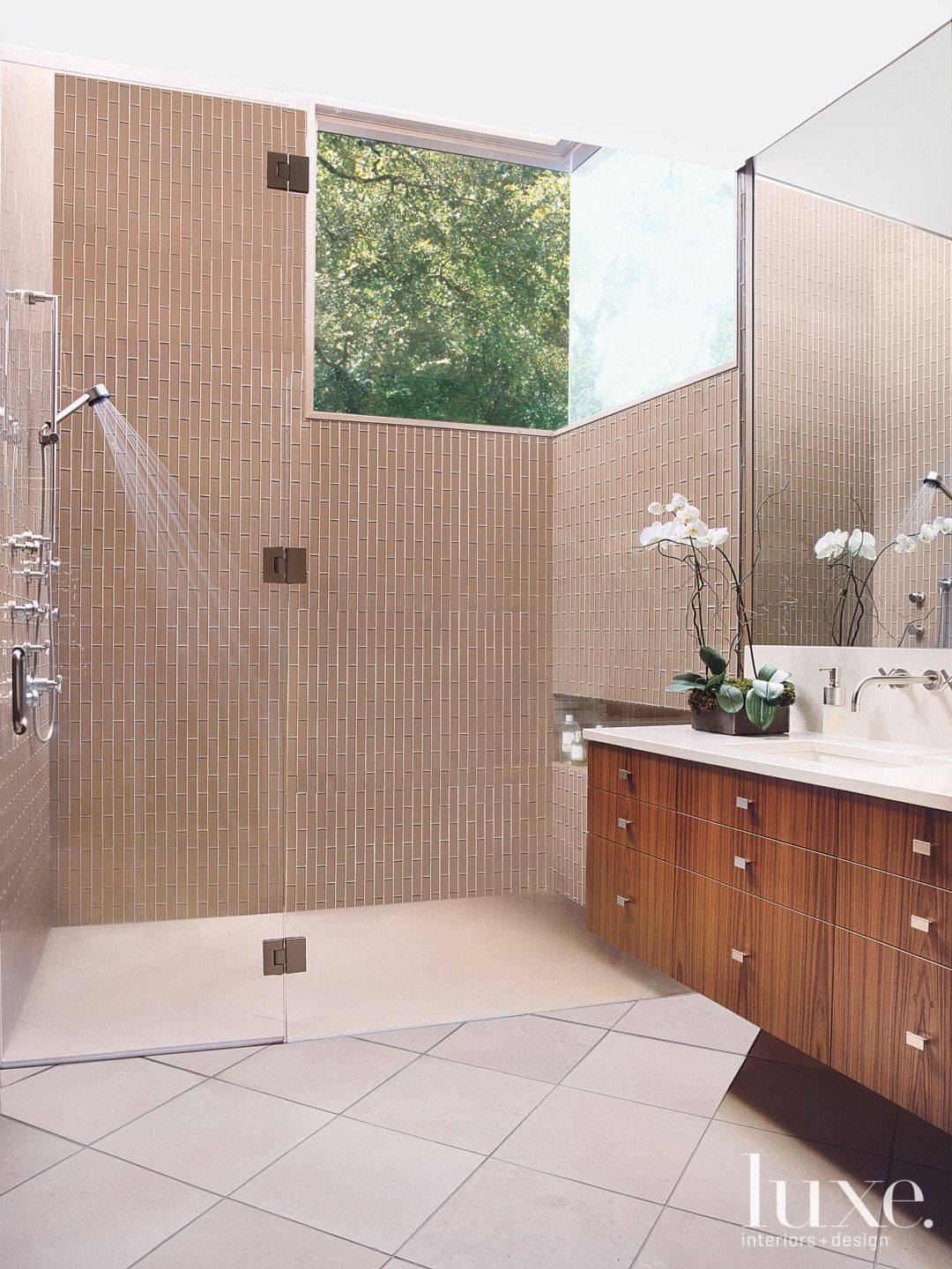 Contemporary Neutral Bathroom with Glass Tile Wall