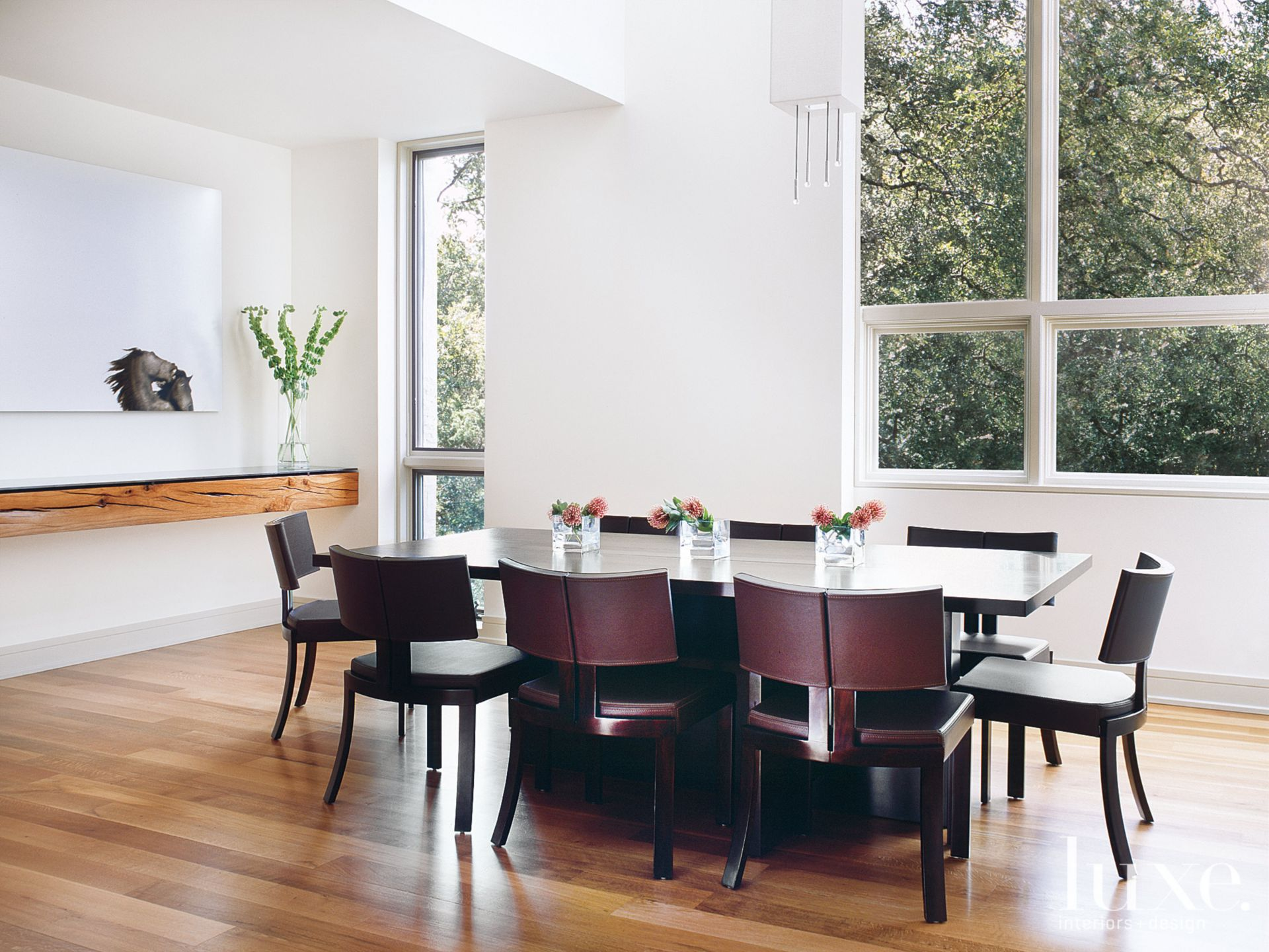 Transitional White Dining Room with Walnut-and-Blackened-Steel Table