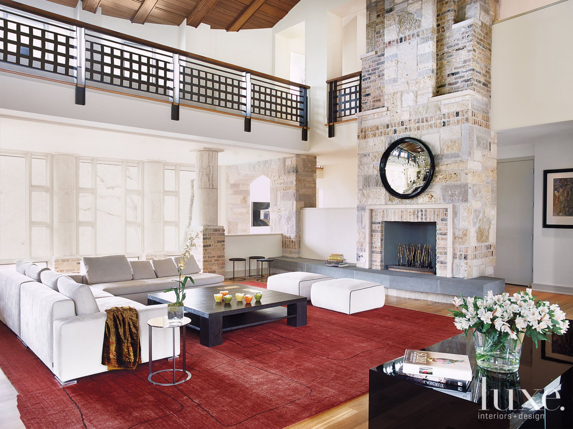 Transitional White Great Room with Red Area Rug