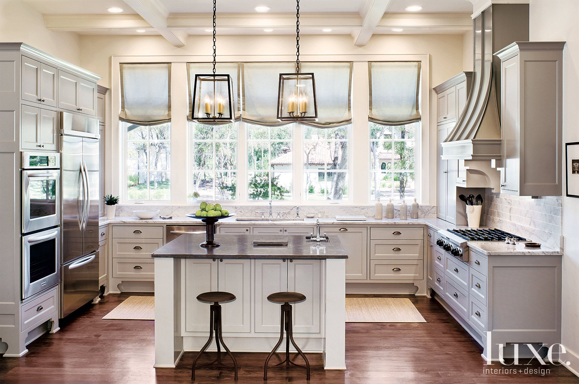 Contemporary White Kitchen with French Windows