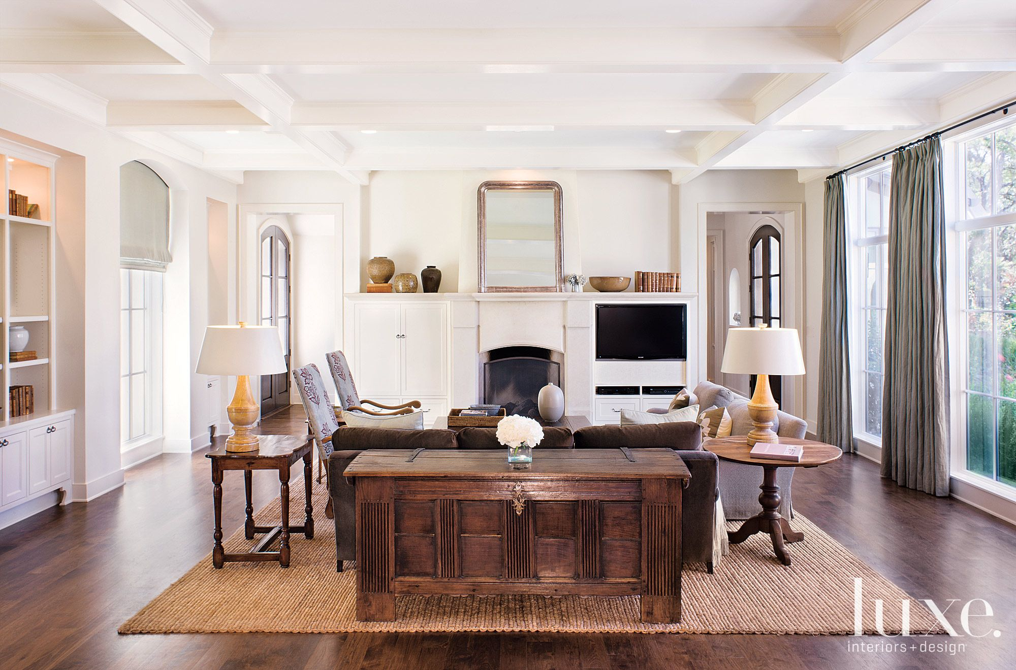 Transitional White Living Room with Beamed Ceiling