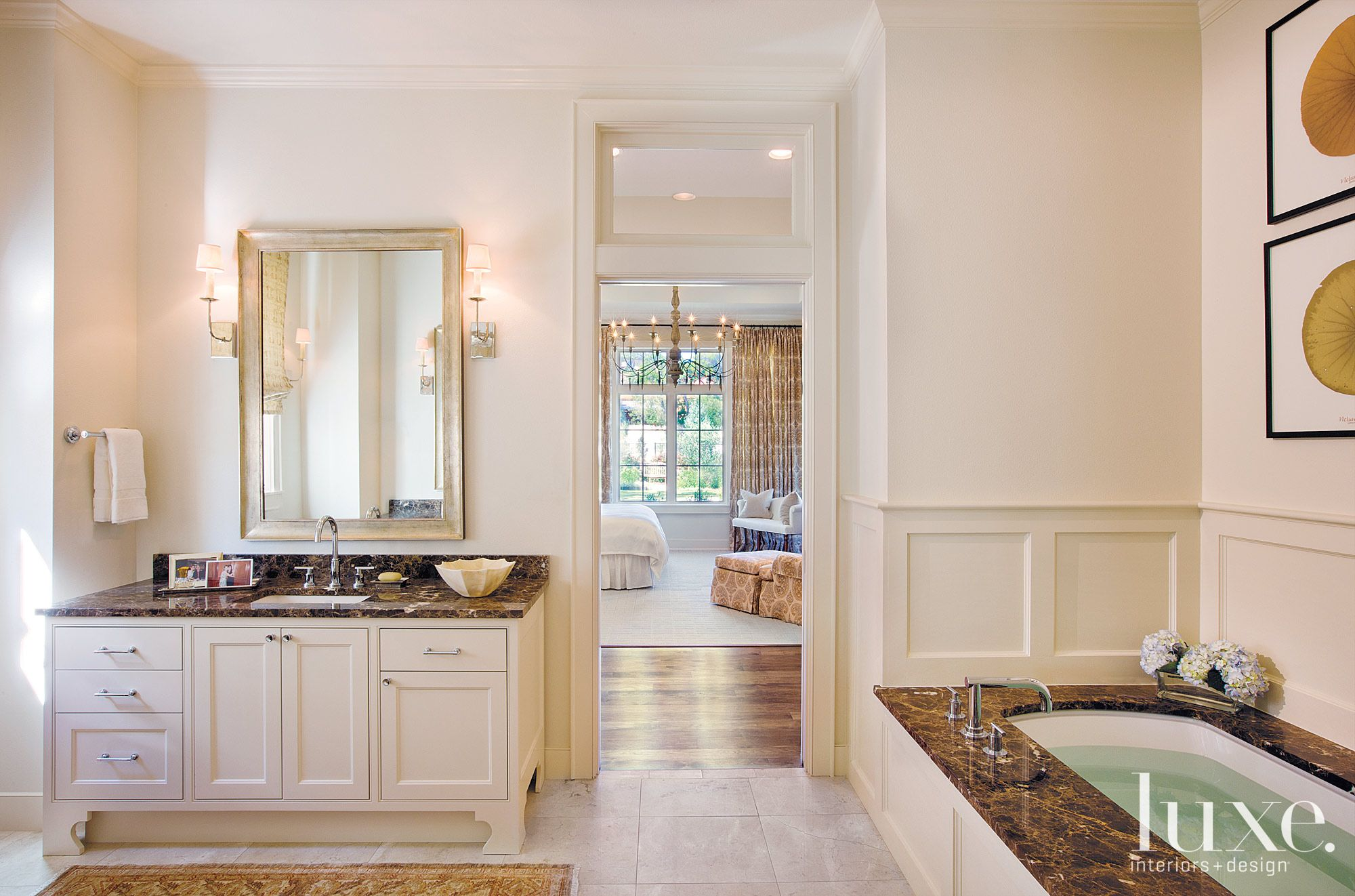 Transitional White Bathroom with Marble Vanity and Tub Surfaces