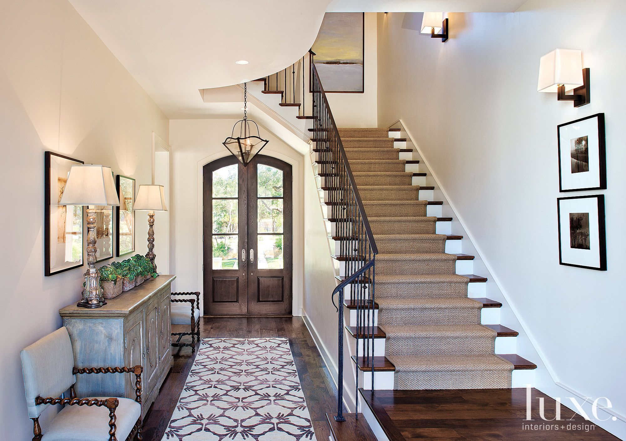 Transitional White Stairway with Wool Runner