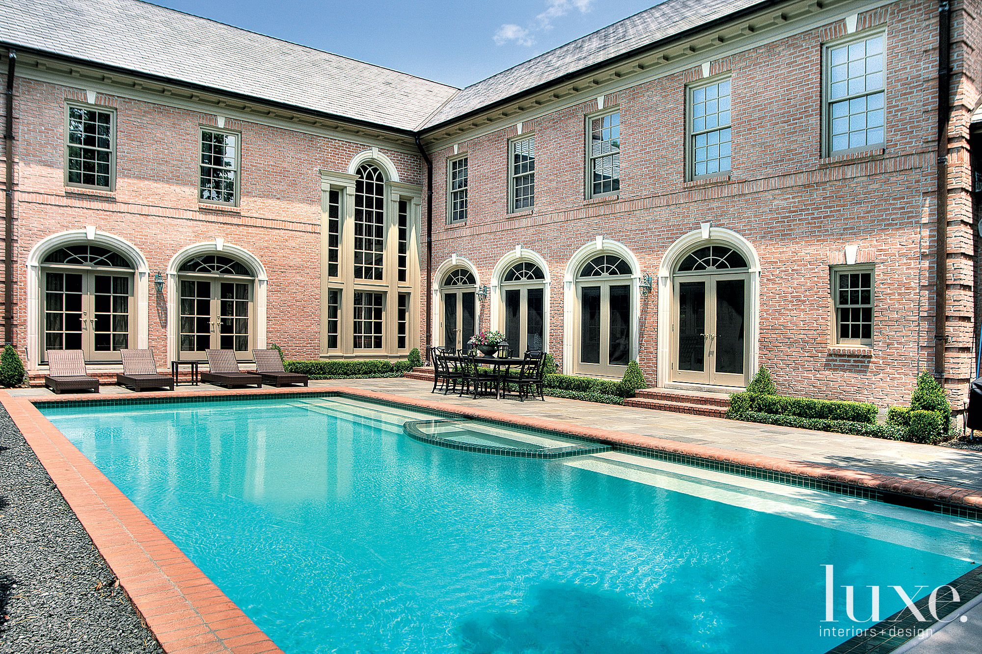 Traditional Rear Exterior with Pool Area