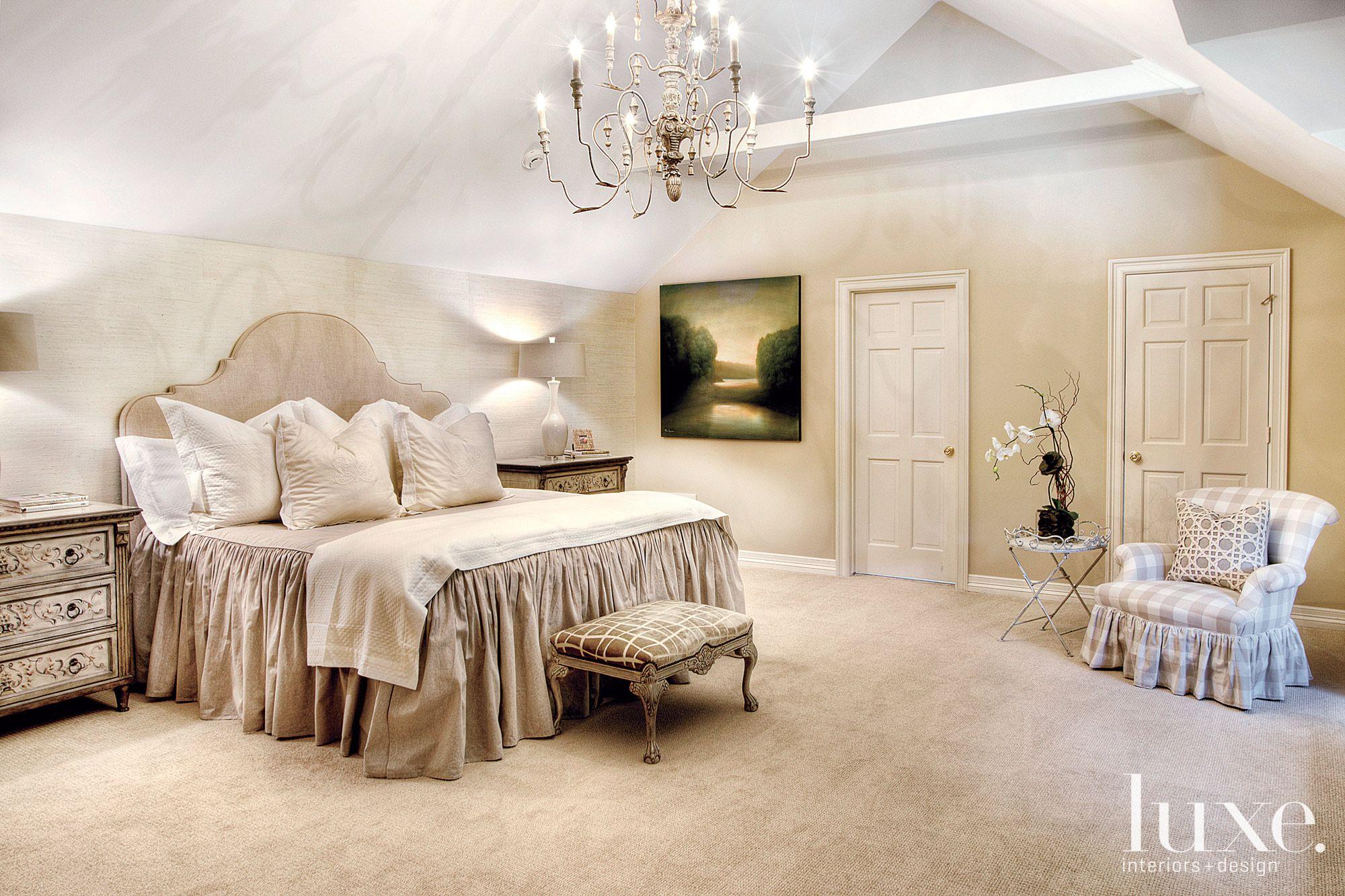Traditional Cream Bedroom with Elegant Chandelier