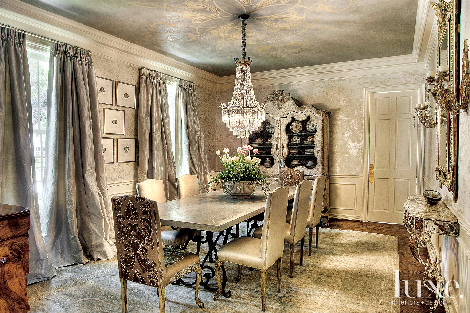 Traditional Cream Dining Room with Crystal Chandelier