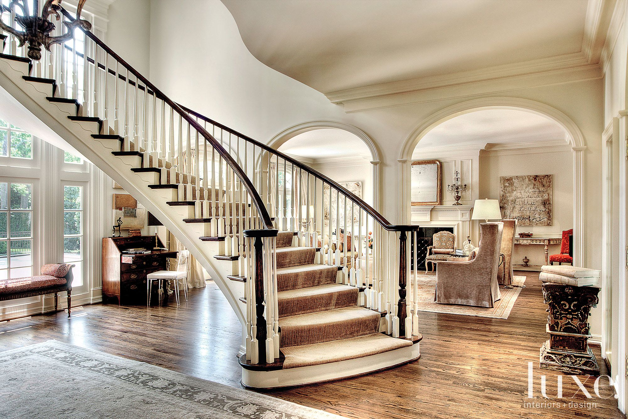 Traditional White Spiral Staircase with Runner