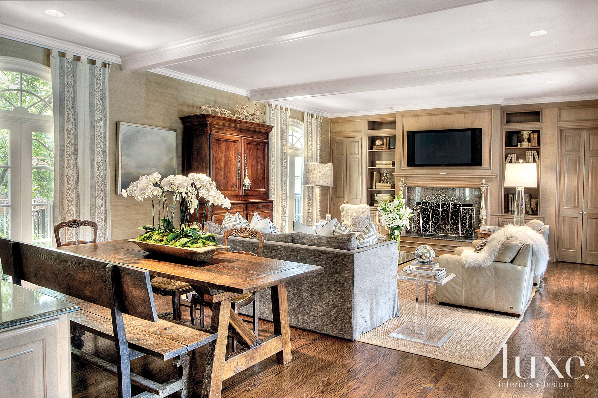Traditional Neutral Family Room with Farm Table