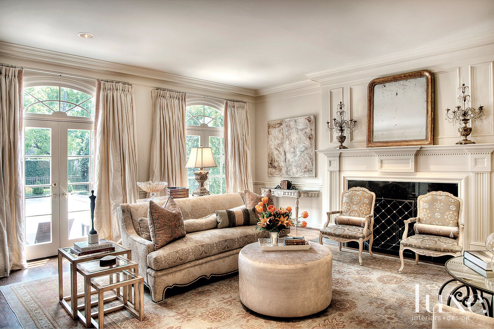 Traditional White Living Room with French Doors