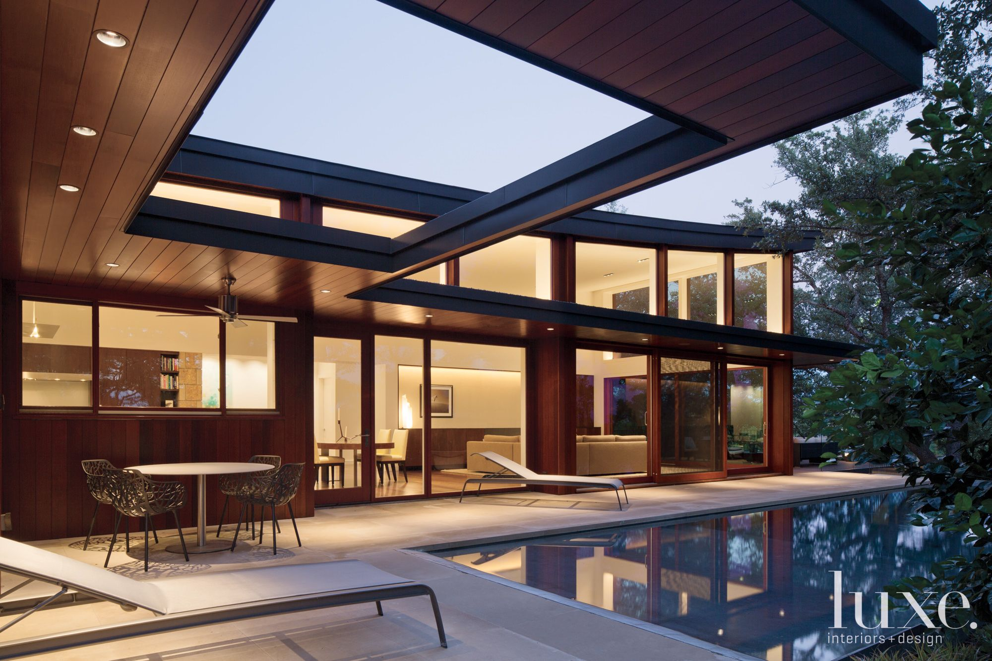 Modern Poolside Limestone Deck