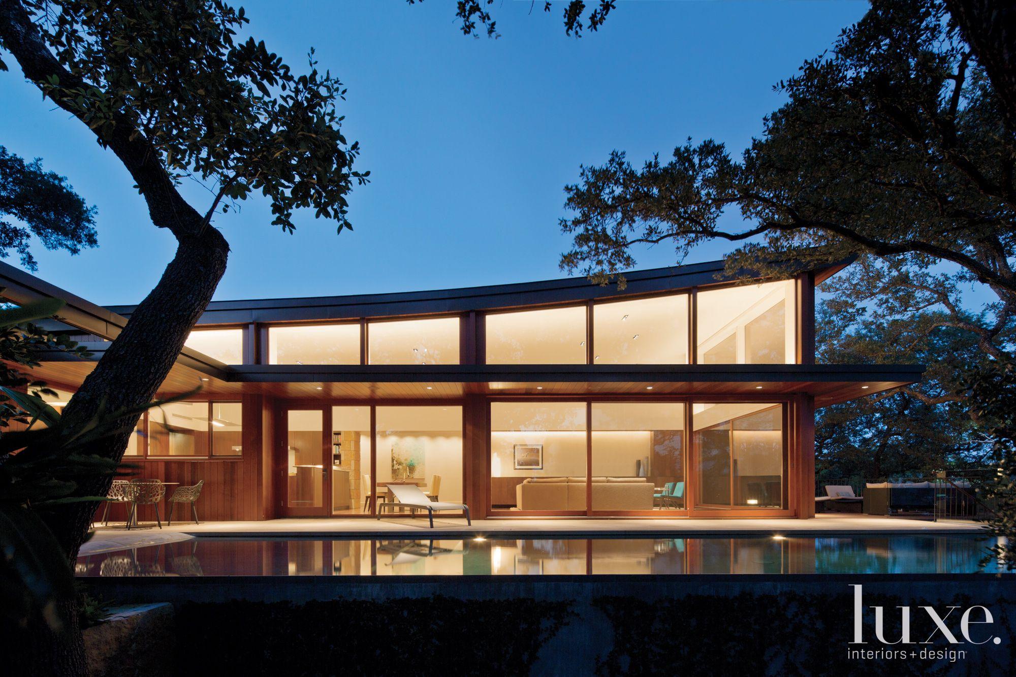 Modern Poolside Sloped Roof Exterior