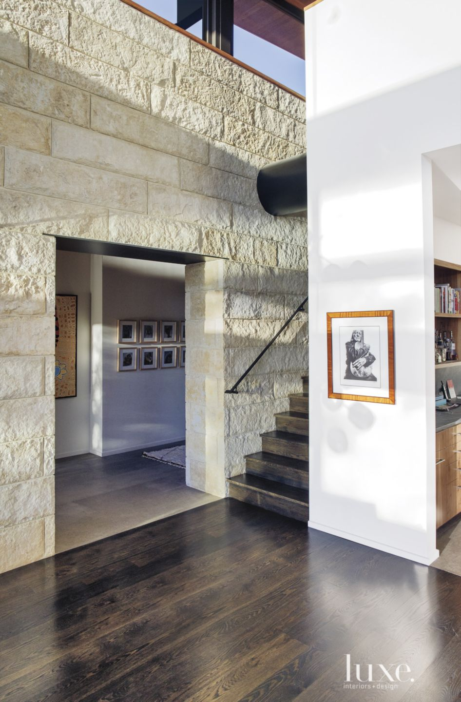 Contemporary Stained White-Oak Staircase