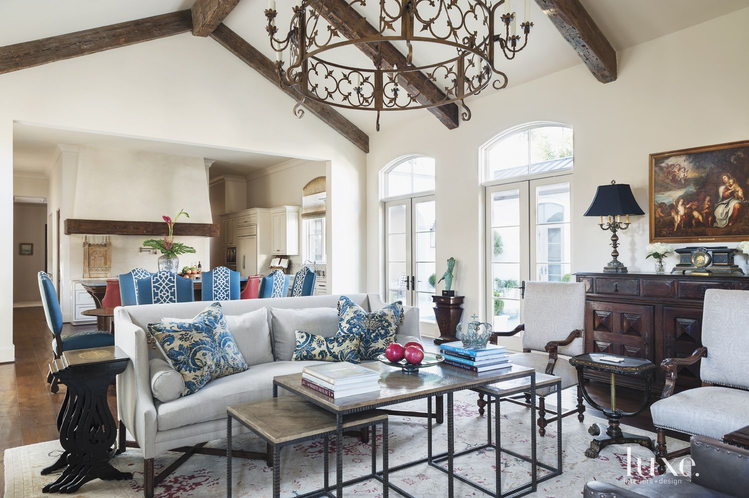 Mediterranean Cream Living Room with Pitched Ceiling
