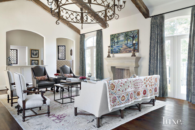 Mediterranean Cream Living Room Fireplace