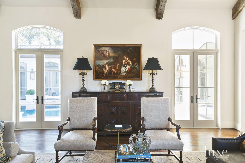 Mediterranean Cream Living Room Vignette