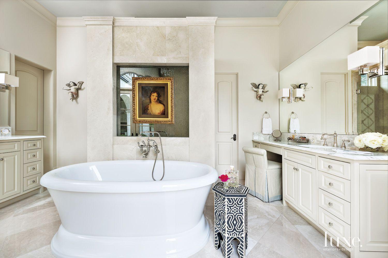 Mediterranean Cream Marble Master Bath