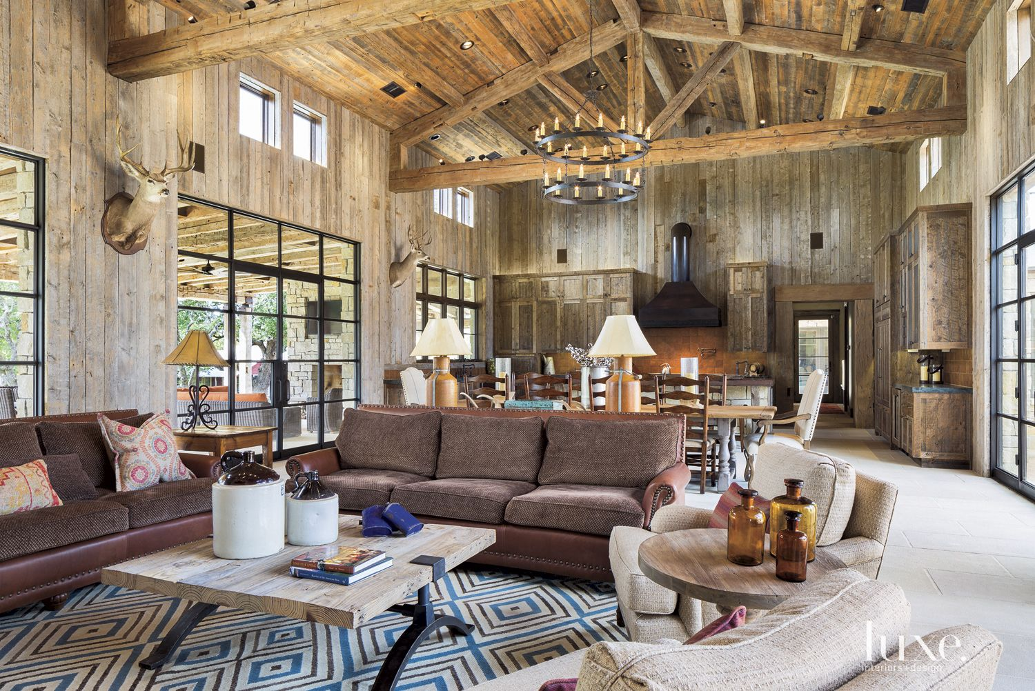 Country Wood Paneled Great Room