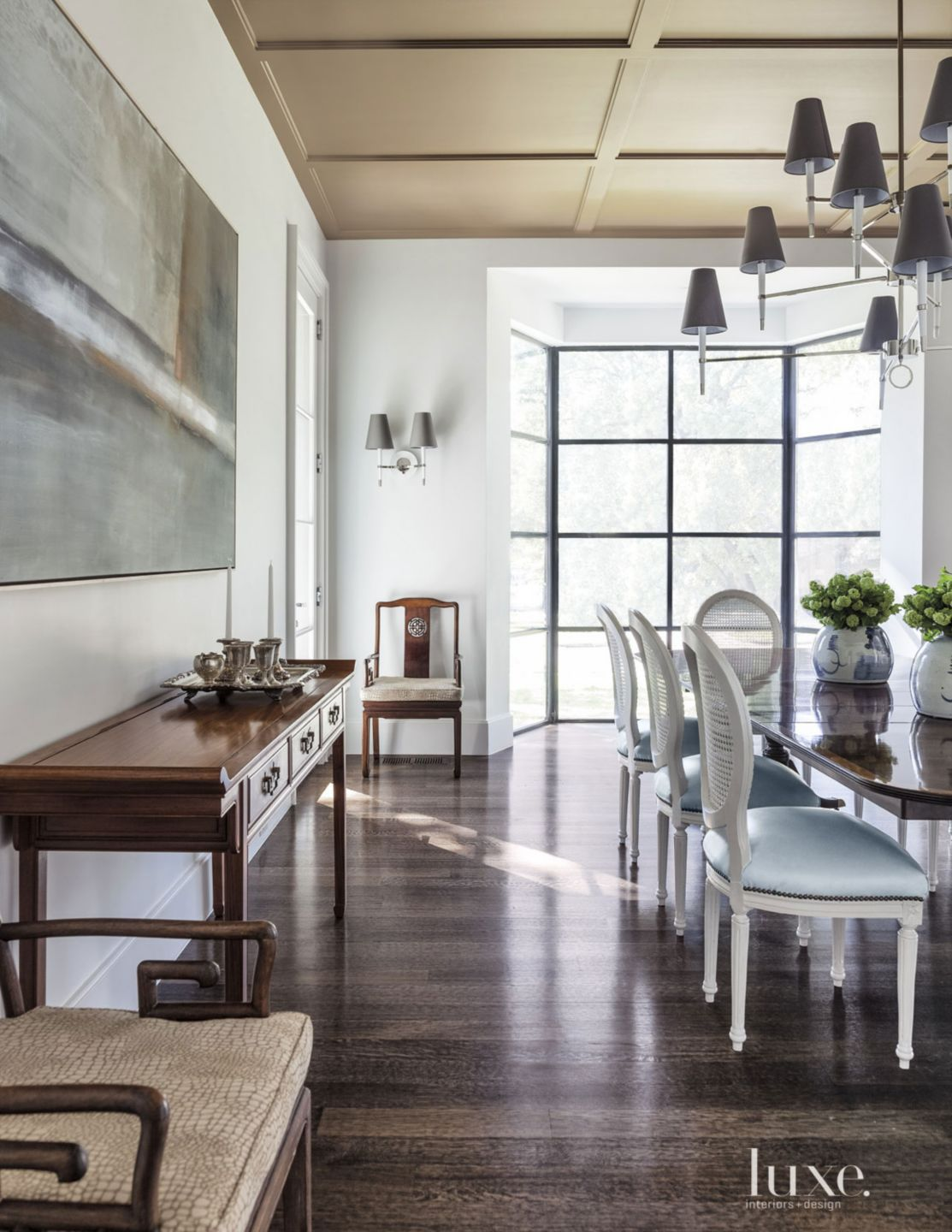 Transitional White Dining Room with Coffered Ceiling