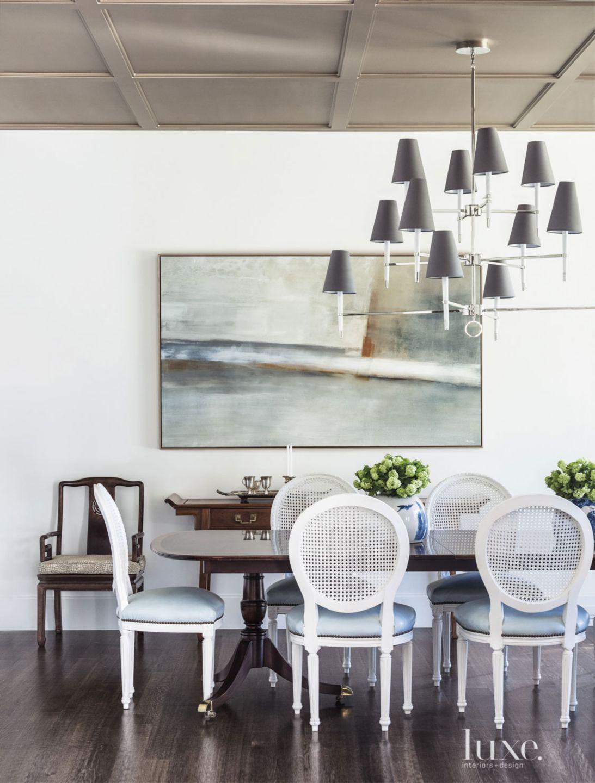 Transitional White Dining Room Artwork