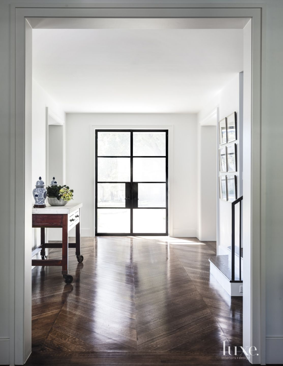 Transitional White Foyer with Steel Entry Door