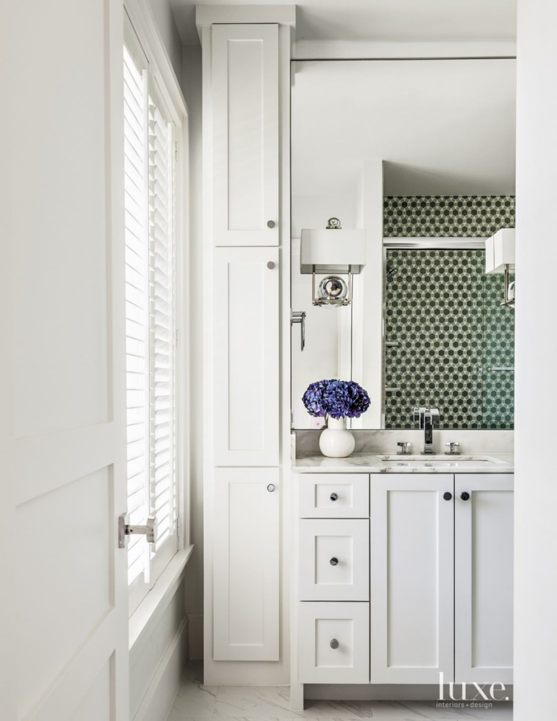 Transitional White Bath with Shaker-Style Cabinetry