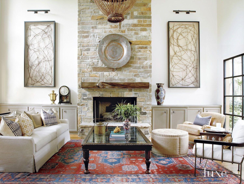 Mediterranean White Living Room Limestone Fireplace