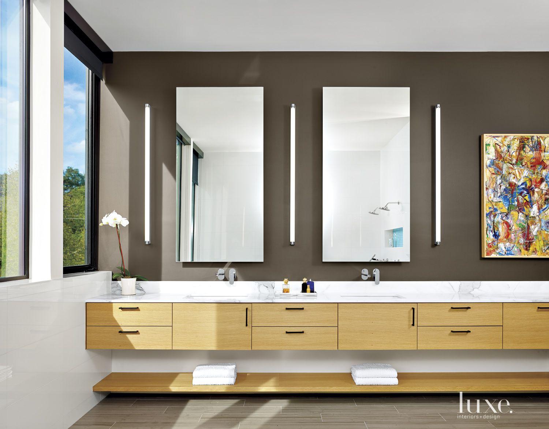 Modern Brown Master Bath Vanity