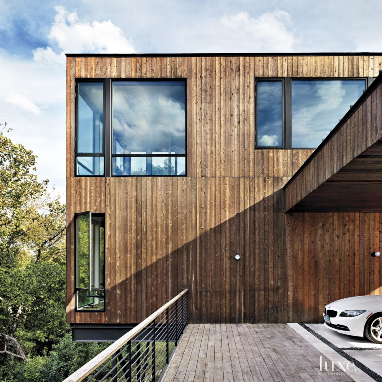 Modern Cedar-Sided Exterior Windows